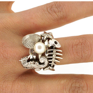 William Griffiths Sterling Silver Large Fish Bones Stack Ring