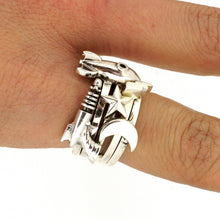 Load image into Gallery viewer, William Griffiths Sterling Silver Fangs Stack Ring
