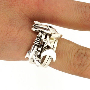 William Griffiths Sterling Silver Fangs Stack Ring