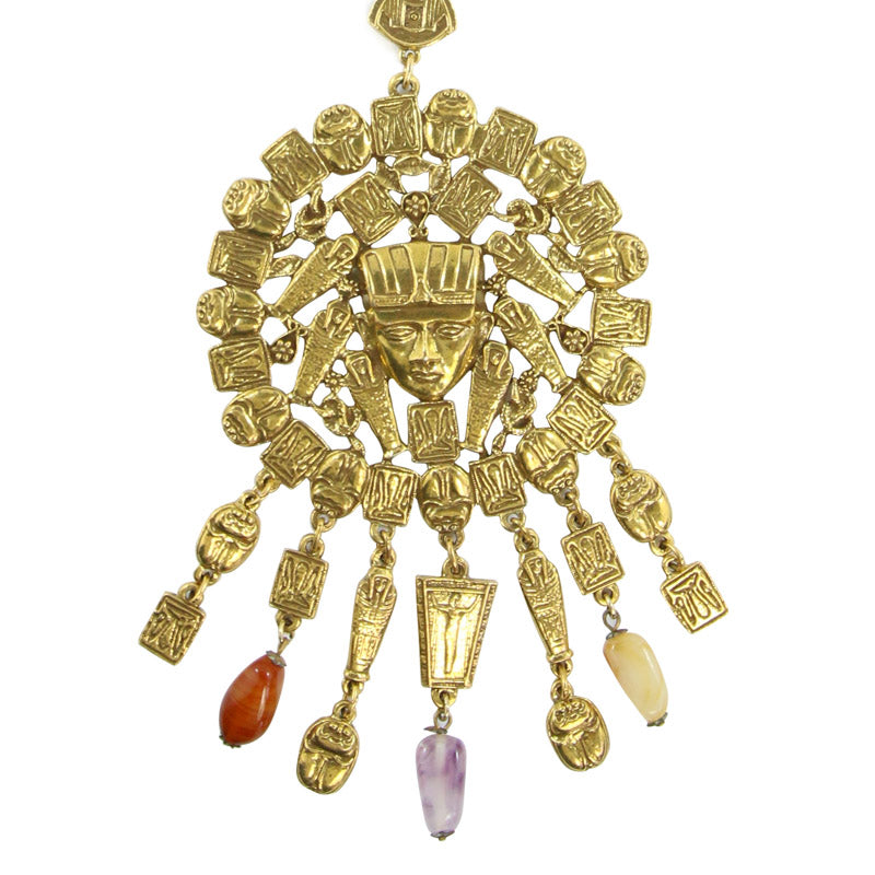 Goldette Egyptian Revival Vintage Statement Necklace with Semi Precious Stones c. 1960