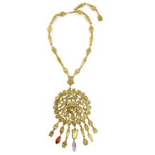 Load image into Gallery viewer, Goldette Egyptian Revival Vintage Statement Necklace with Semi Precious Stones c. 1960