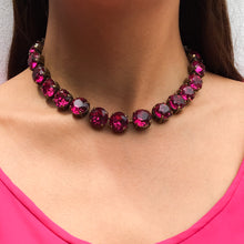 Load image into Gallery viewer, Harlequin Market Large Austrian Crystal Accent Necklace - Fuchsia