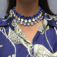 Load image into Gallery viewer, Harlequin Market Large Austrian Crystal Accent Necklace - Sapphire
