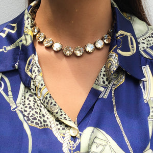 Harlequin Market Large Austrian Crystal Accent Necklace - Golden Shadow