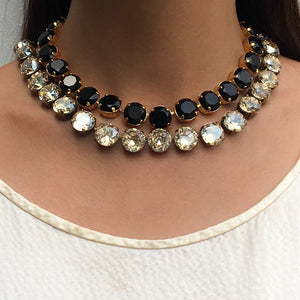 Harlequin Market Large Austrian Crystal Accent Necklace - Jet