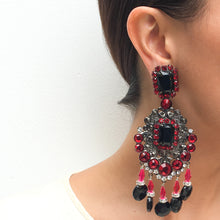 Load image into Gallery viewer, Lawrence VRBA Signed Large Statement Crystal Earrings - Blood Red, Black, Clear & Grey