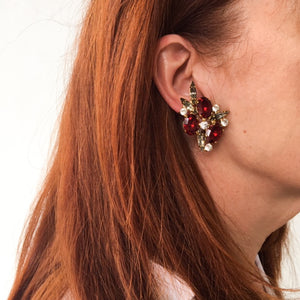 HQM Austrian Ruby, Clear & Black Diamond Crystal Cluster Earrings (Clip-On)