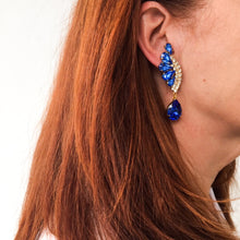Load image into Gallery viewer, HQM Austrian Sapphire & Clear Crystal Drop Earrings (Clip-On)