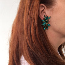 Load image into Gallery viewer, HQM Austrian Emerald & Blue Zircon Multi Spiked Earrings (Clip-On)