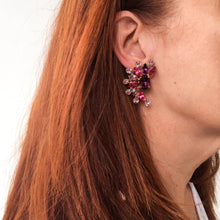 Load image into Gallery viewer, HQM Austrian Amethyst, Fuschia & Light Amethyst Cuff Earrings (Clip-On)
