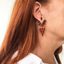 Load image into Gallery viewer, HQM Austrian Ruby & Clear Crystal Deco Daisy Drop Earrings (Pierced)