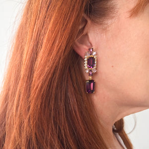 HQM Austrian Amethyst, Light Amethyst, Clear Double Rectangle Deco Earrings (Clip-On)