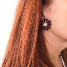 Load image into Gallery viewer, HQM Austrian Amethyst & Clear Large Daisy Earrings (Clip-On)