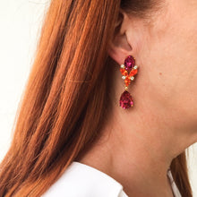 Load image into Gallery viewer, HQM Austrian Fuschia, Hyacinth & Clear Crystal Drop Earrings (Pierced)