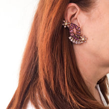 Load image into Gallery viewer, HQM Austrian Amethyst & Light Amethyst Cross Over Climber Daisy Earrings (Clip-On)