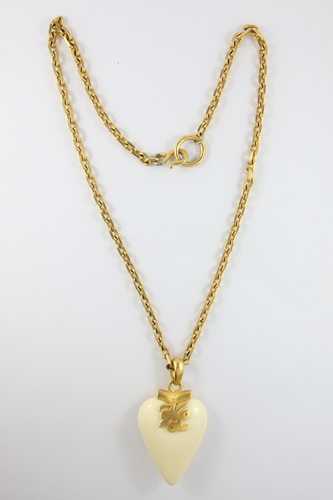 Vintage Karl Lagerfeld Statement Gold Plated Heart Pendant Necklace