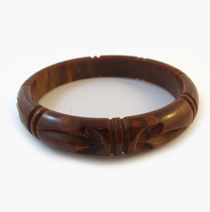 Vintage Bakelite Bangle - Marbled Brown Carved