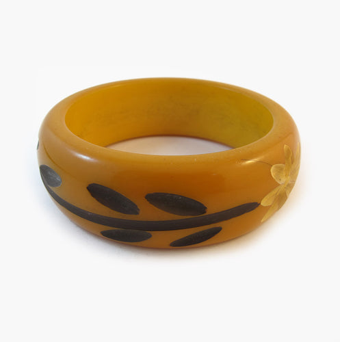 Vintage Carved Floral Design Bakelite Bangle 1950's