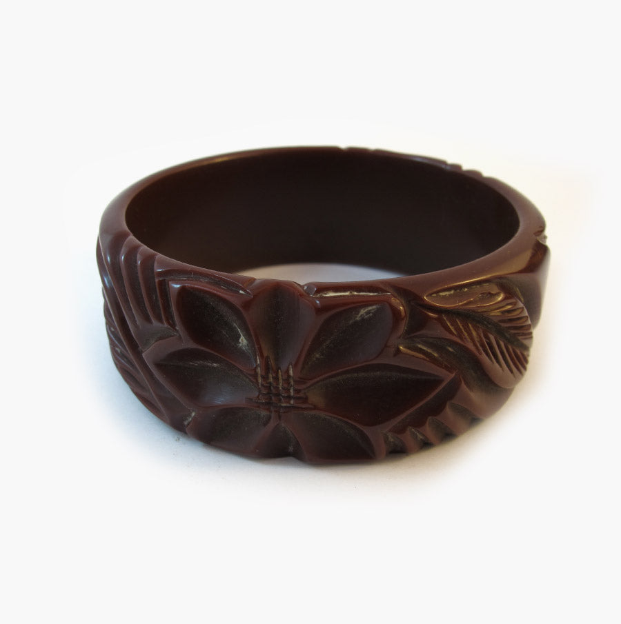 Vintage Bakelite Bangle - Heavily Carved Floral Design