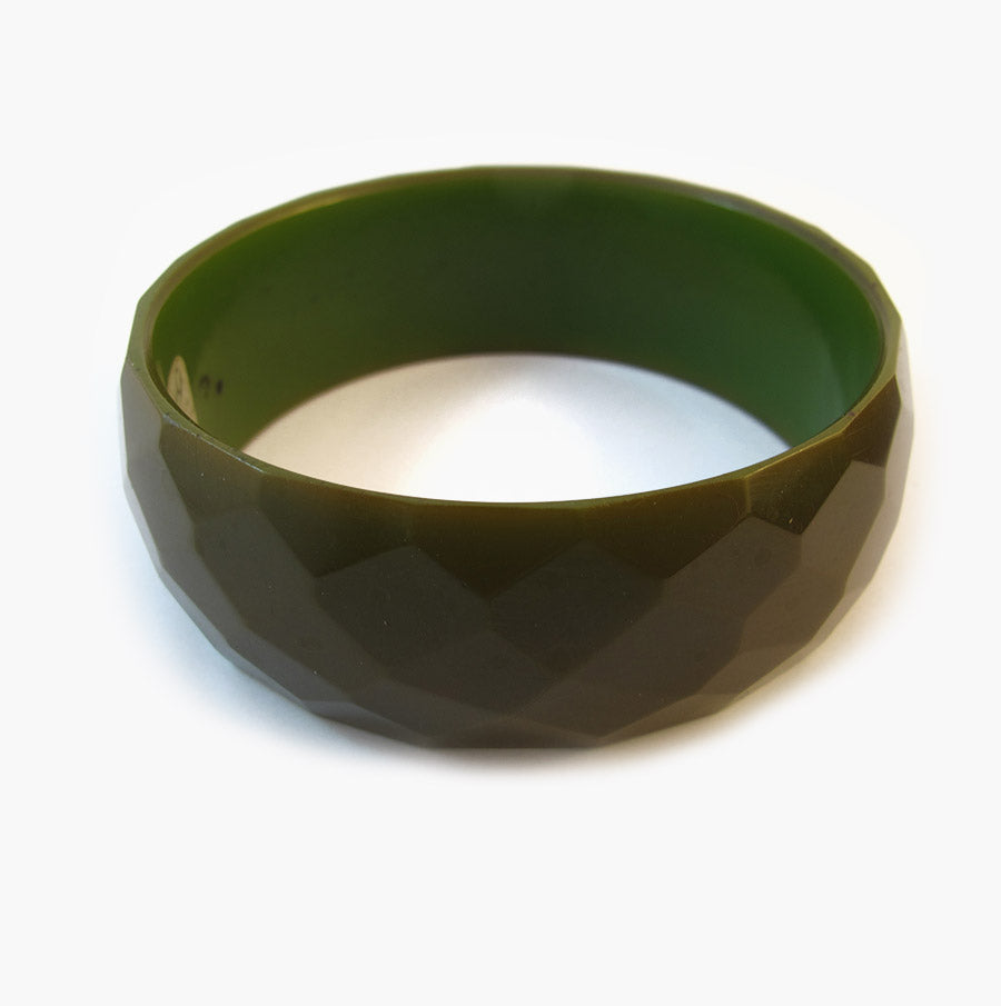 Rare Vintage Olive Green Faceted Bakelite Bangle - 1950's