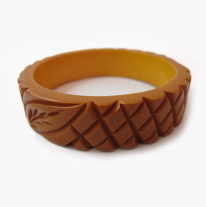 Vintage Bakelite Bangle - 1950's Butterscotch Carved