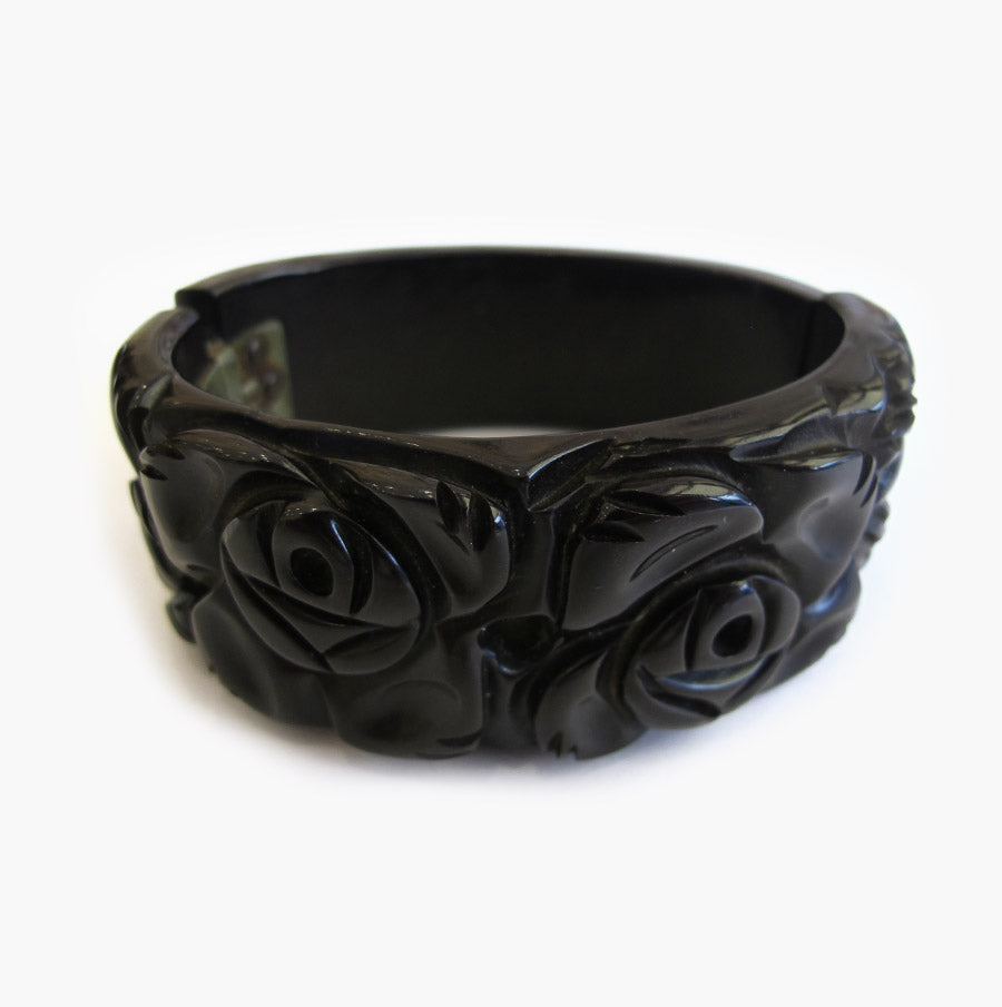 Vintage Bakelite Clamper - Black Carved Design - 1950's