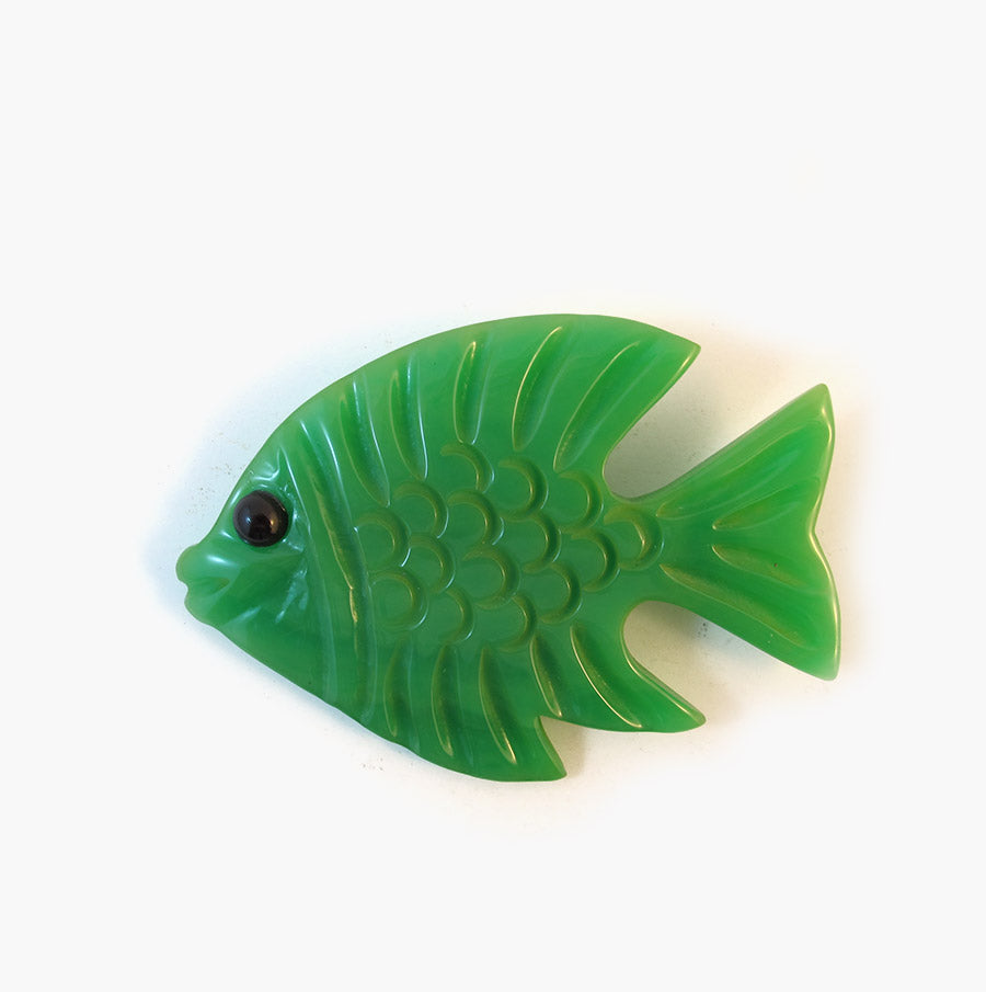 Reworked Vintage Bakelite Green Fish Brooch