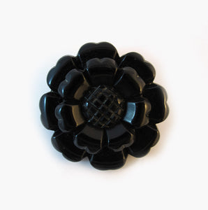 Vintage Hand Carved Black Bakelite Flower Brooch