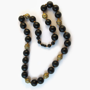 Rare Vintage Bakelite Bead Necklace with Gold Snail Swirl Beads