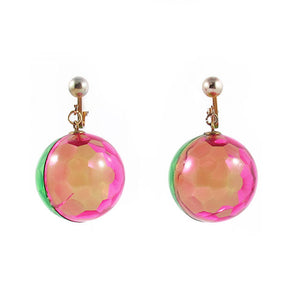 Vintage Lucite Retro Green and Pink Transparent Ball Clip On Earrings c. 1960's