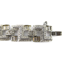 Load image into Gallery viewer, Vintage Deco Rhinestone Baguette Bracelet - Silver Plated
