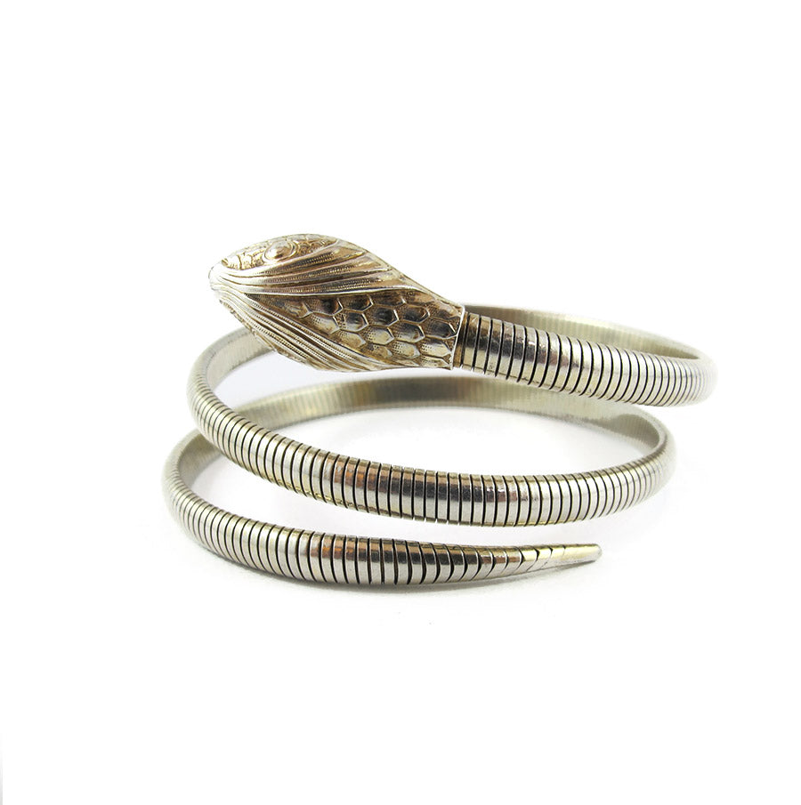 Vintage Sterling Silver Signed 'Forstner' Snake Coil Bangle