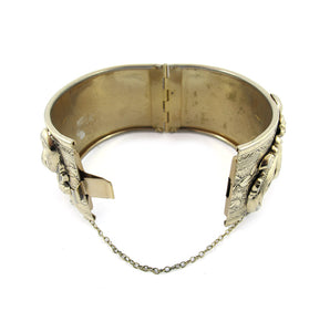 Vintage Repousee Gold Work Clamper Bangle