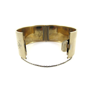 Antique Gold Filled Etched Clamper Bangle