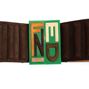 Vintage FENDI Belt in Chocolate Suede Leather and Green Perspex Buckle c.1990