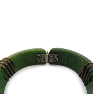 Vintage Hinged Green Bakelite Bangle with Brass Wire & Brass Ball Details