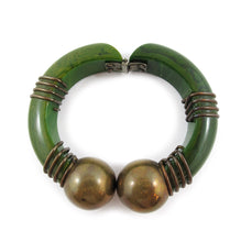 Load image into Gallery viewer, Vintage Hinged Green Bakelite Bangle with Brass Wire & Brass Ball Details