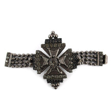 Load image into Gallery viewer, Signed 'David Mandel for The Show Must Go On' Crystal and Chrome Cross Bracelet