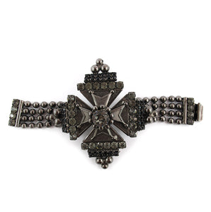 Signed 'David Mandel for The Show Must Go On' Crystal and Chrome Cross Bracelet