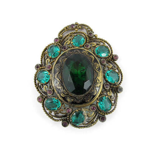 Vintage Czechoslovakian Bohemian Brooch -Emerald Green and Amethyst