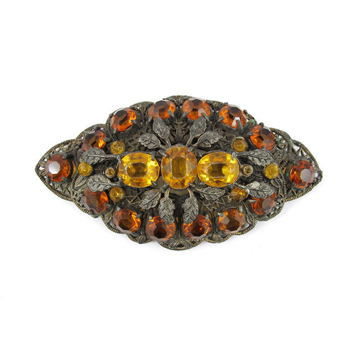 Vintage 1930's Czechoslovakian Filigree Brooch -Topaz and Amber