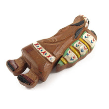Load image into Gallery viewer, Vintage Hand Carved & Painted Wooden Native American Indian Brooch