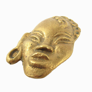 French Vintage Figural African Face Cast Brass Mask Brooch c. 1960