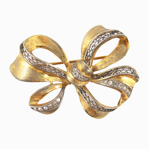 Vintage Gold Filigree & Crystal Detail Bow Brooch c. 1950's