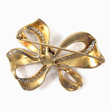 Load image into Gallery viewer, Vintage Gold Filigree & Crystal Detail Bow Brooch c. 1950's