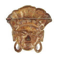 Load image into Gallery viewer, French Vintage Figural African Face Cast Brass Mask Brooch c. 1960