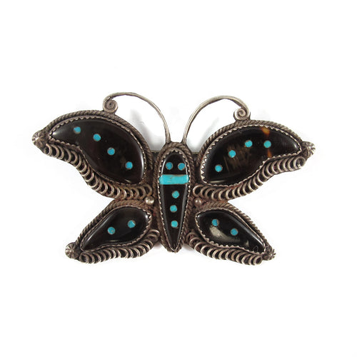 Vintage Native American Indian Zuni Sterling Silver, Tortoiseshell & Turquoise Butterfly Brooch