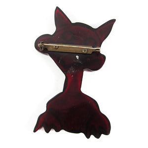 Vintage Bakelite Crazy Cat Clear Cherry Coloured Brooch c. 1950