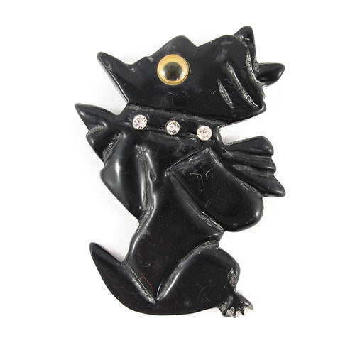 Vintage Google Eyed Carved BlackResin Dog Brooch c. 1950