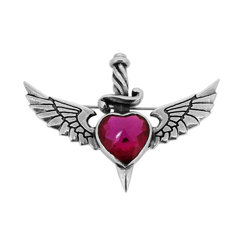 William Griffiths Sterling Silver and Cubic Zirconia Heart Dagger & Wings Brooch